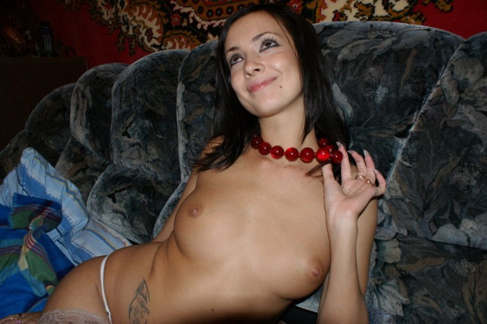 Brunette with hairy pussy and big boobs