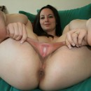 Brunette with really BIG pussy lips