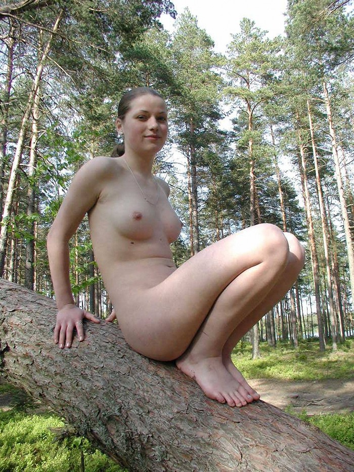 Russian girl naked at forest