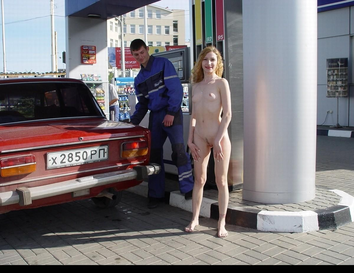 Gas Pump Girls Nude russian naked blonde posing on gas station | russian sexy girls