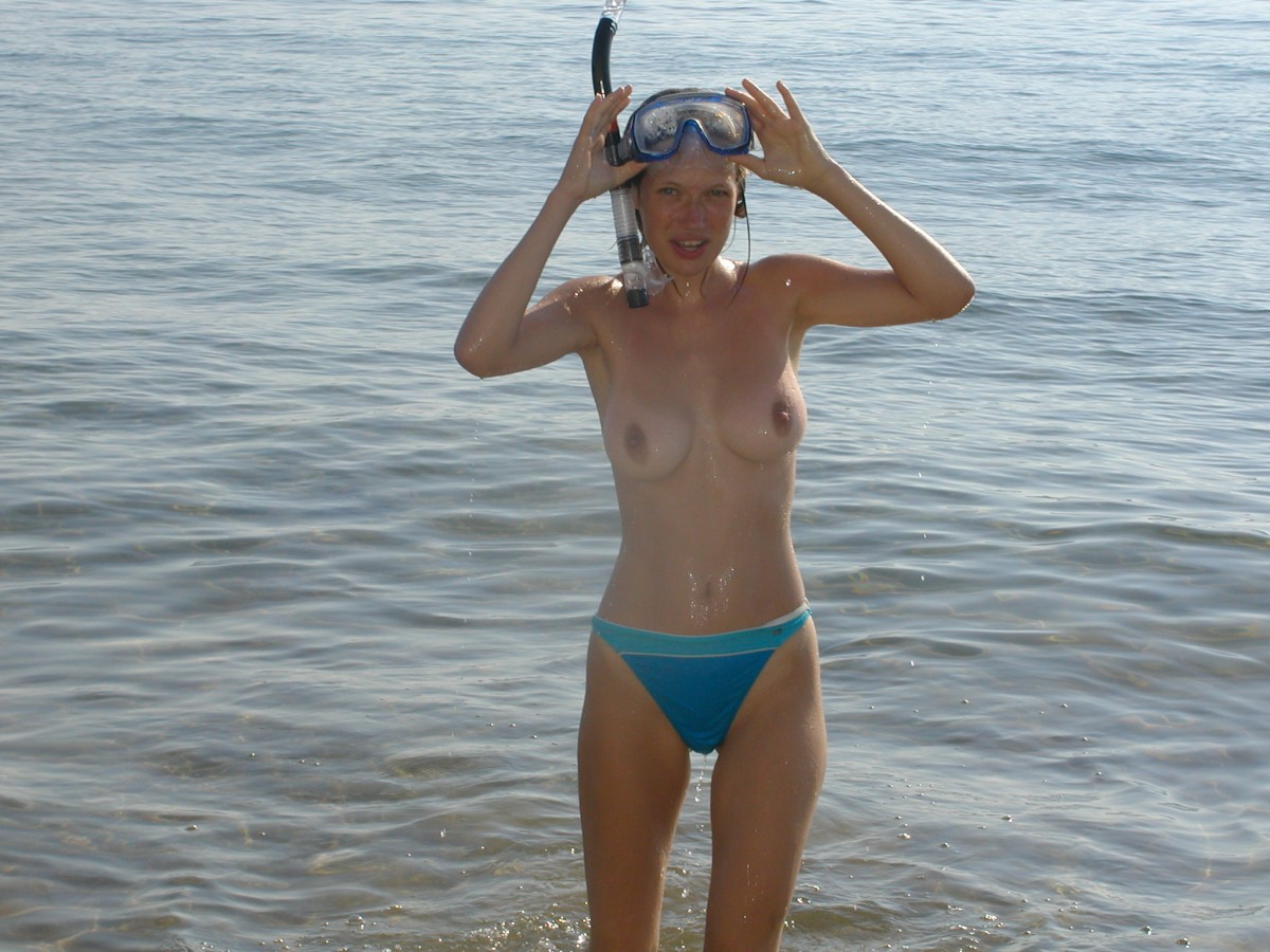Big boobs snorkeling nude