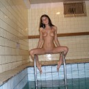 Sexiest brunette in the sauna