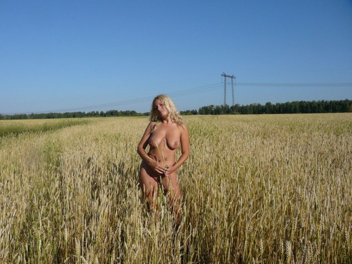 Blonde with hairy pussy outdoors