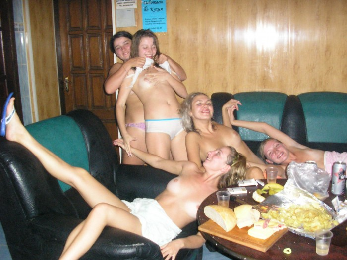 Group of girls in sauna