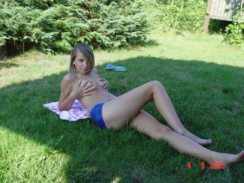 Naked teen walk outside think