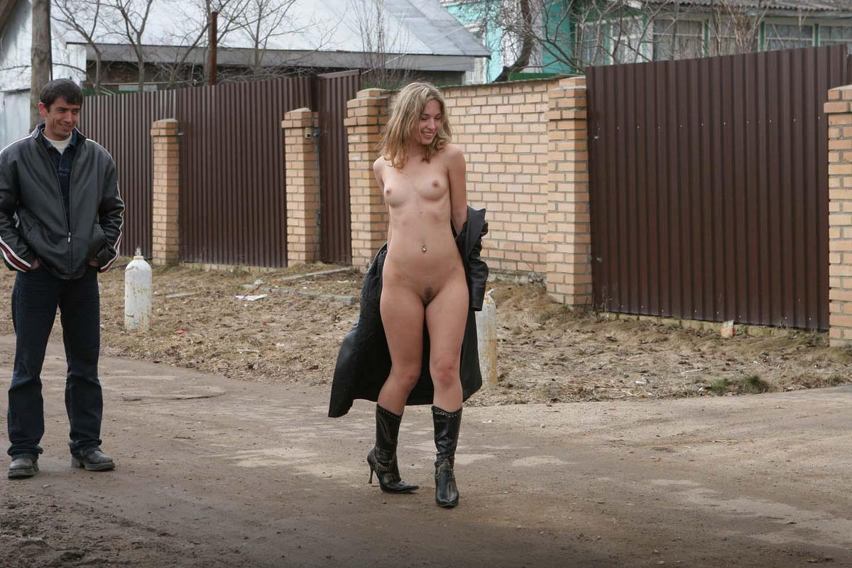 Nude public girl walks around 7
