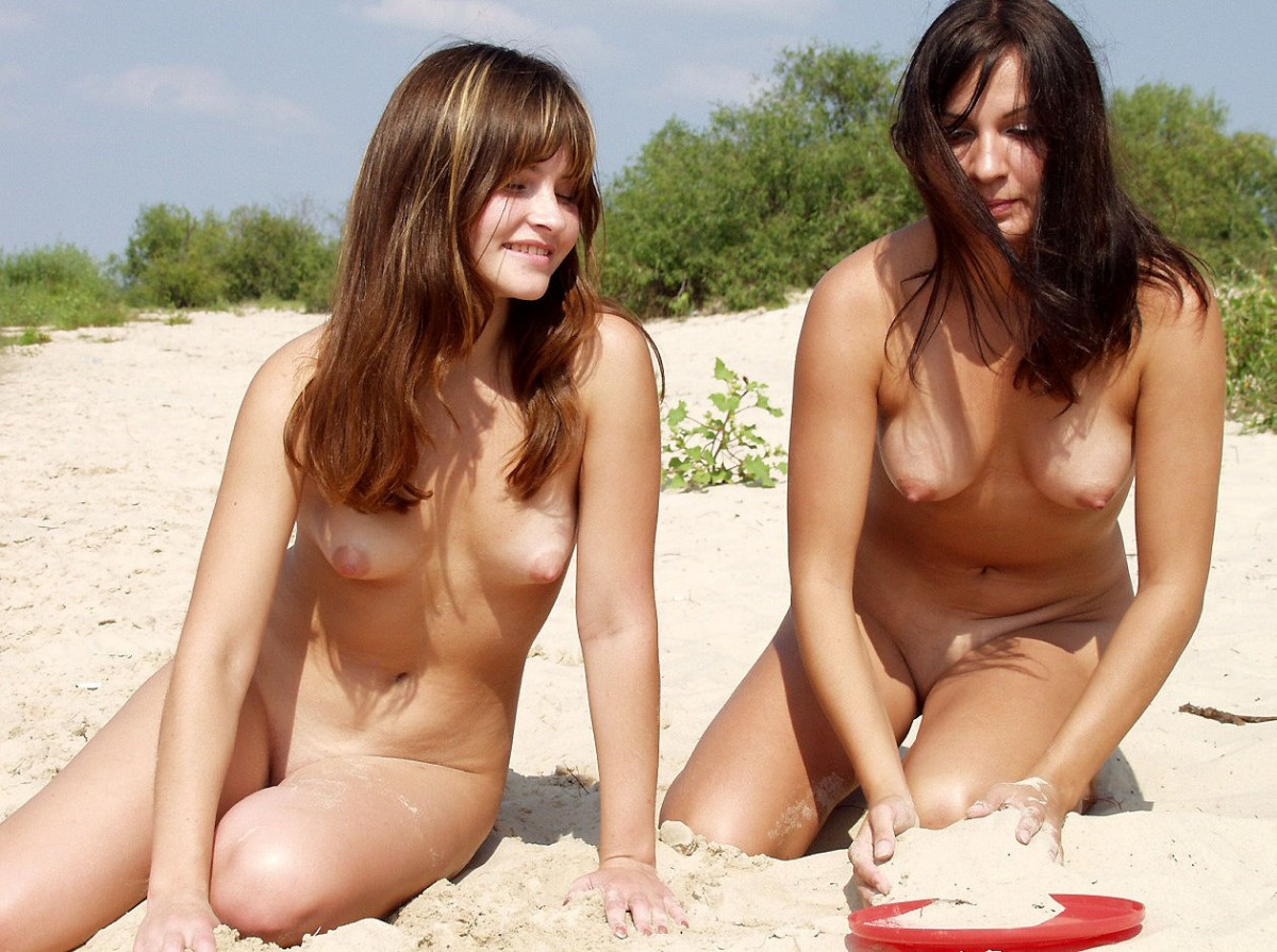 young teens on beach nude