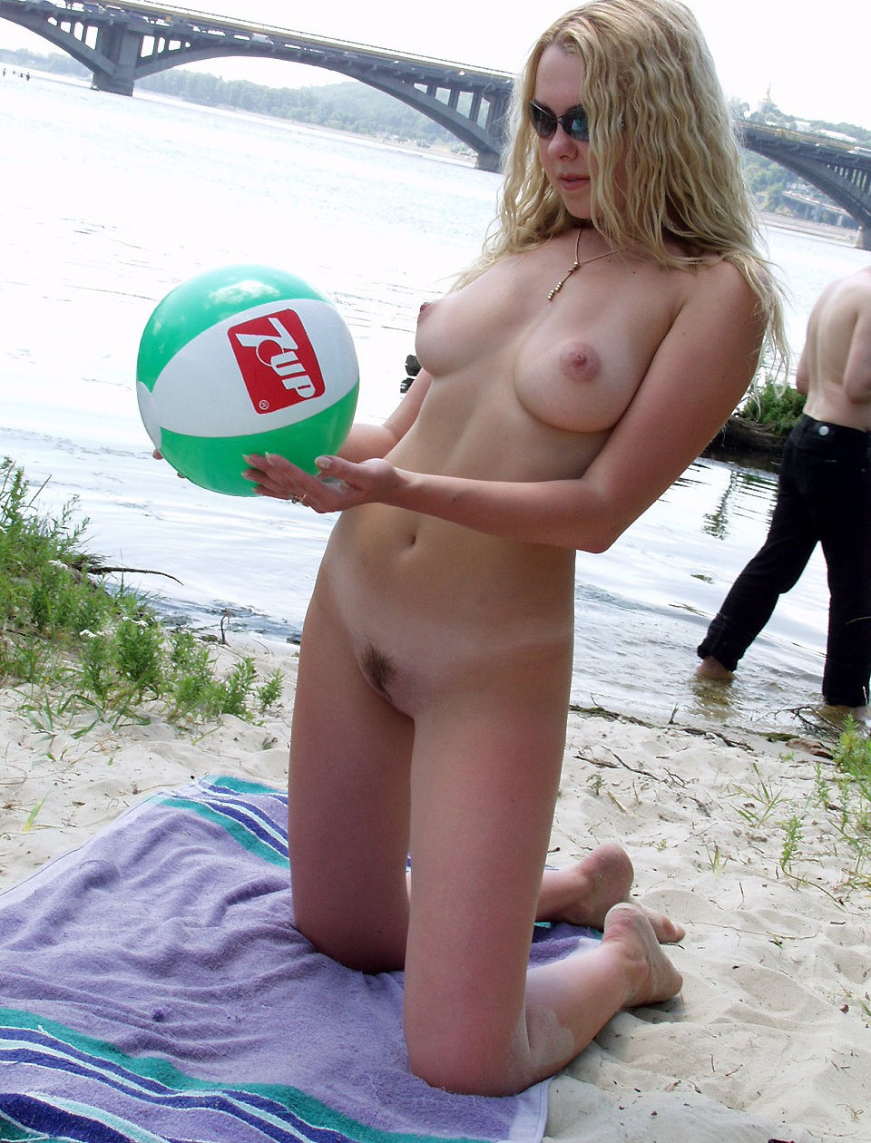 Blonde With Big Beautiful Boobs Plays With Ball Naked At -8298