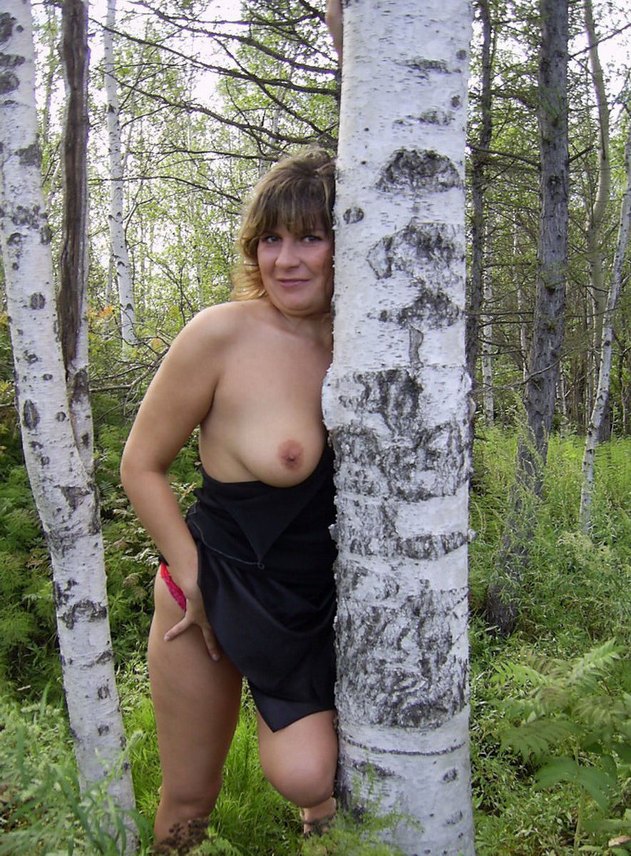 Wife naked in forest
