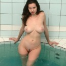 Brunette with HUGE boobs at sauna