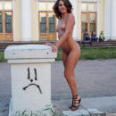 Lovely russian girl with nice tits posing naked at public