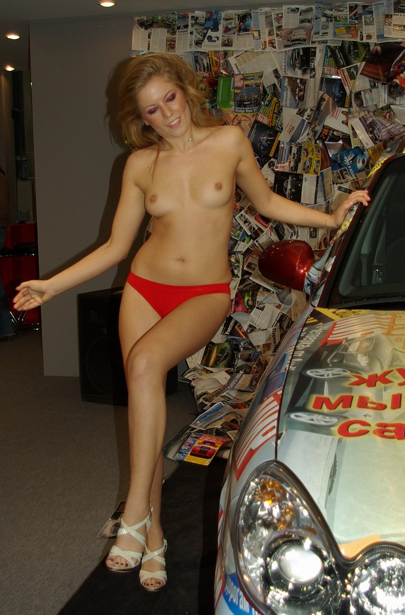 Russian Blonde Girls Shows Tits On Car Show  Russian Sexy -1876