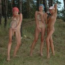 Three nice teens plays at forest