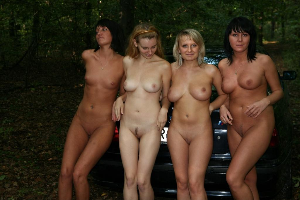 Group nude girls on all fours