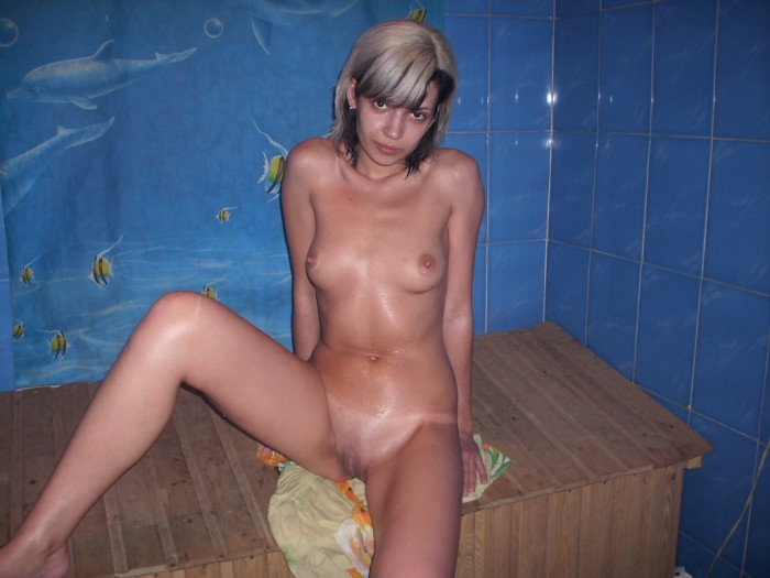 Little russian girl in sauna