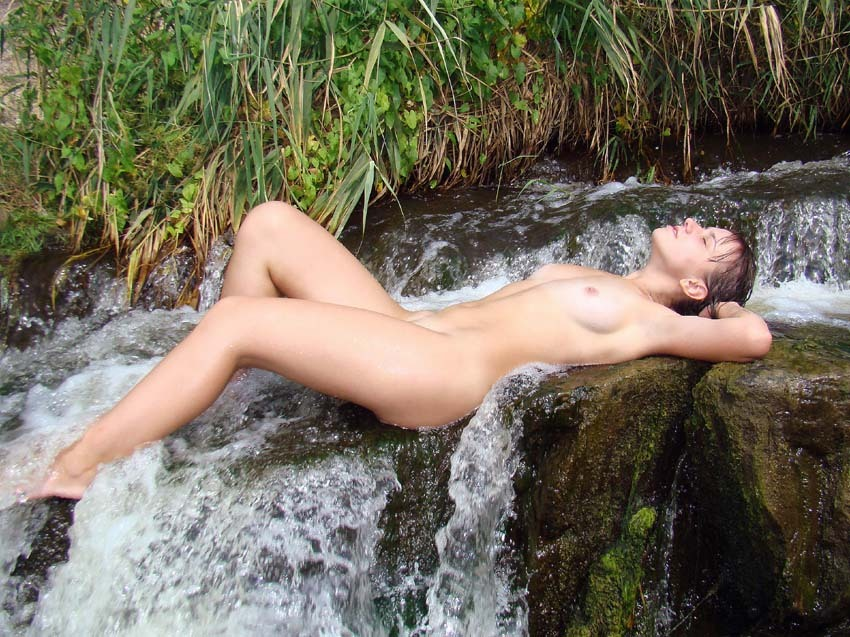 Lela, nude wife at waterfalls :-) Scene