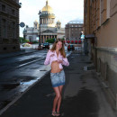 Sexiest russian girl with big boobs completely naked on public streets