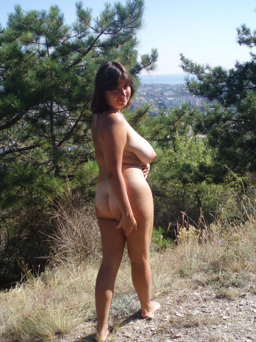 Big Mature Wife With Big Boobs Posing Outdoors  Russian -1434