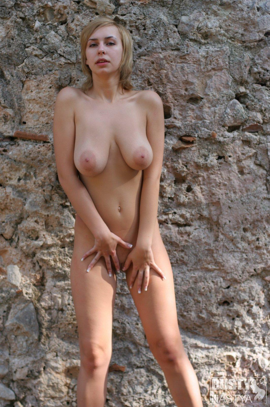 Amazing Sporty Blonde With Big Boobs Outdoors  Russian -6996