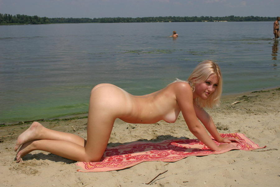 Blonde girls on beach