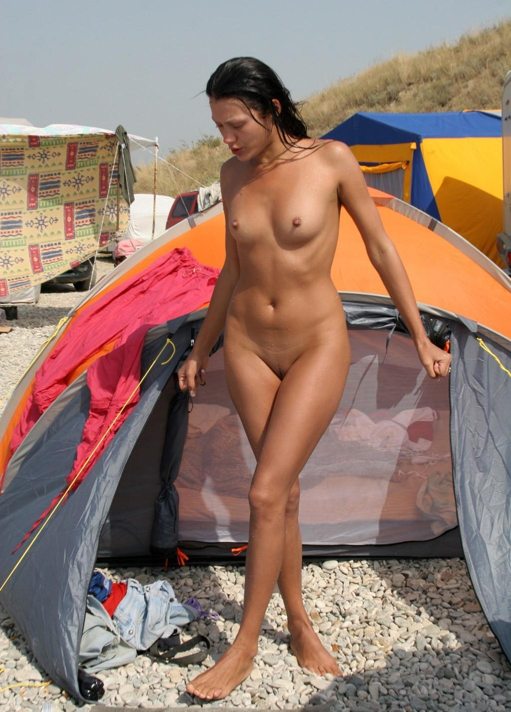 nice naked brunette with nice tits at camping | russian sexy girls