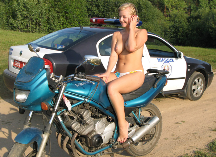 Sexy girls with big tits on motorcycle
