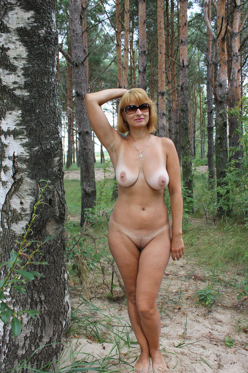 wife outdoors mature Russian boobs