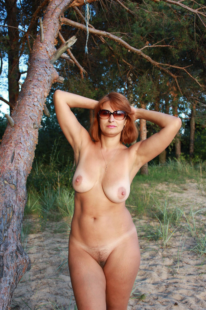 Nude mature women outdoors