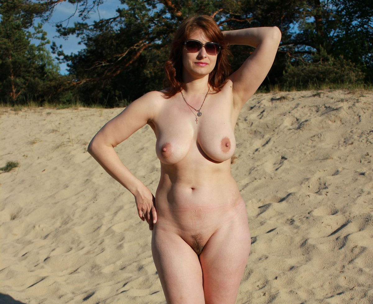 outdoors naked Mom posing