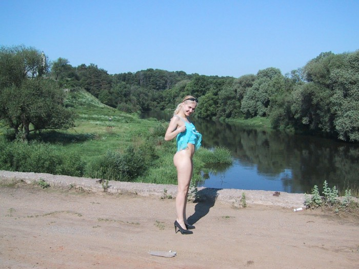 Amazing russian teen with amazing big boobs outdoors