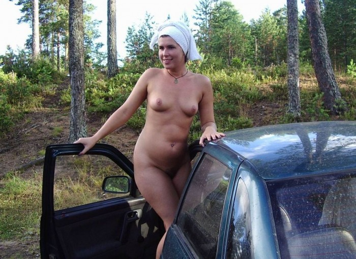 Lovely girl with sweet big boobs masturbates in car