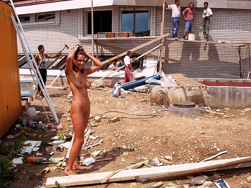Naked girls working construction