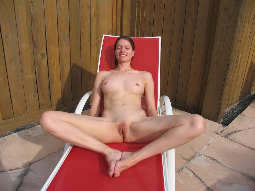 legs spread My wife naked