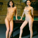 Two amazing russian babe with ideal boobs posing on billiard table