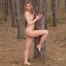 Very beautiful russian sporty girl shows sweet pussy at forest
