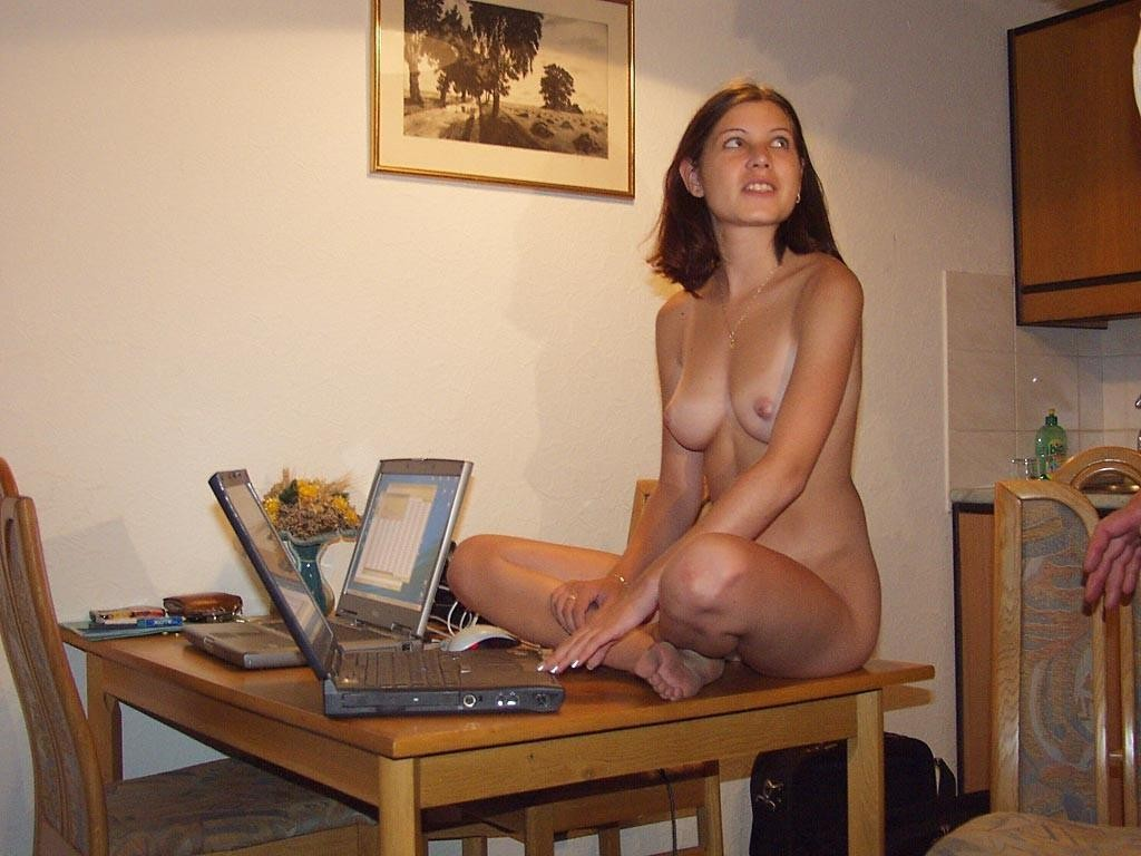 front Girl of computer naked in