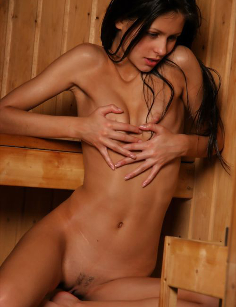 Beautiful naked brunette creamy flesh