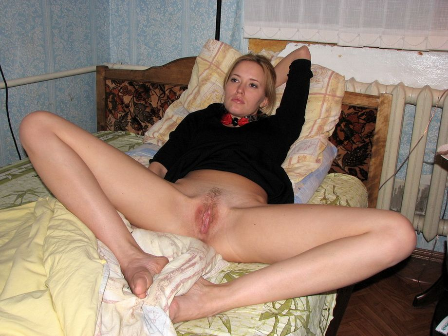 Blonde girl with pussy open here casual