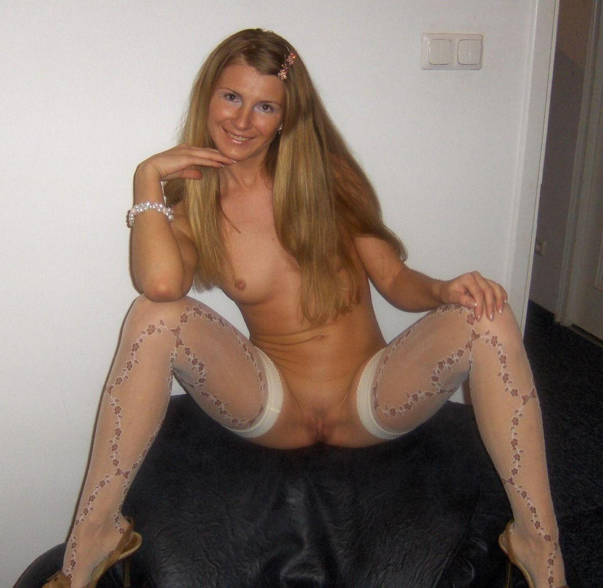 Naked in stockings