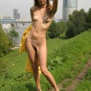 Very skinny russian milf with amazing body posing naked outdoors