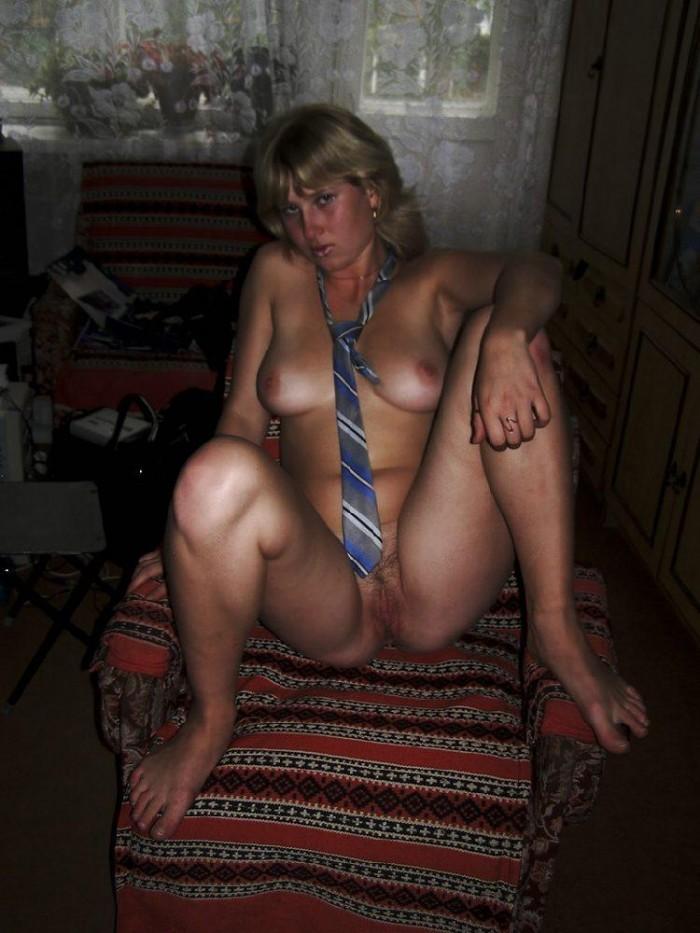 Nice russian milf with short hair posing at sauna