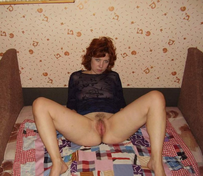 Nice russian curly milf with sporty body touching her shaved pussy