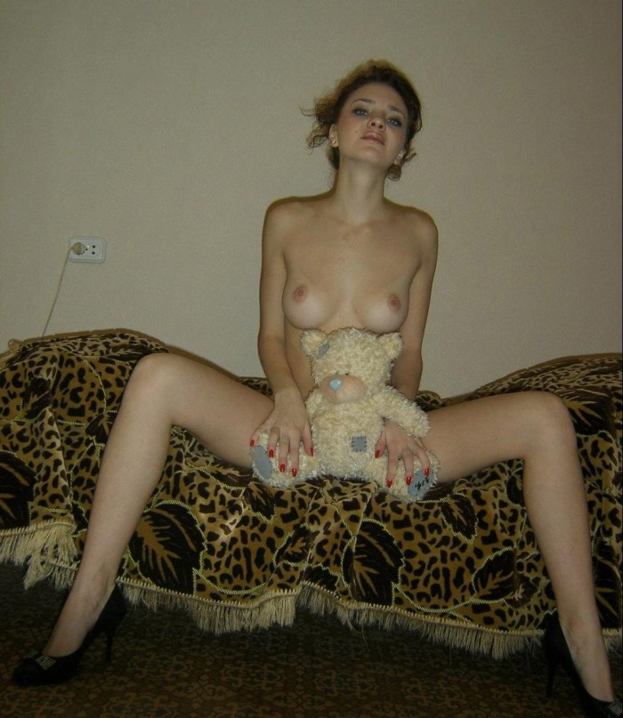 Get rid of that teddy bear and show that hot pussy of yours for the beautiful russian babe with natural tits.jpg