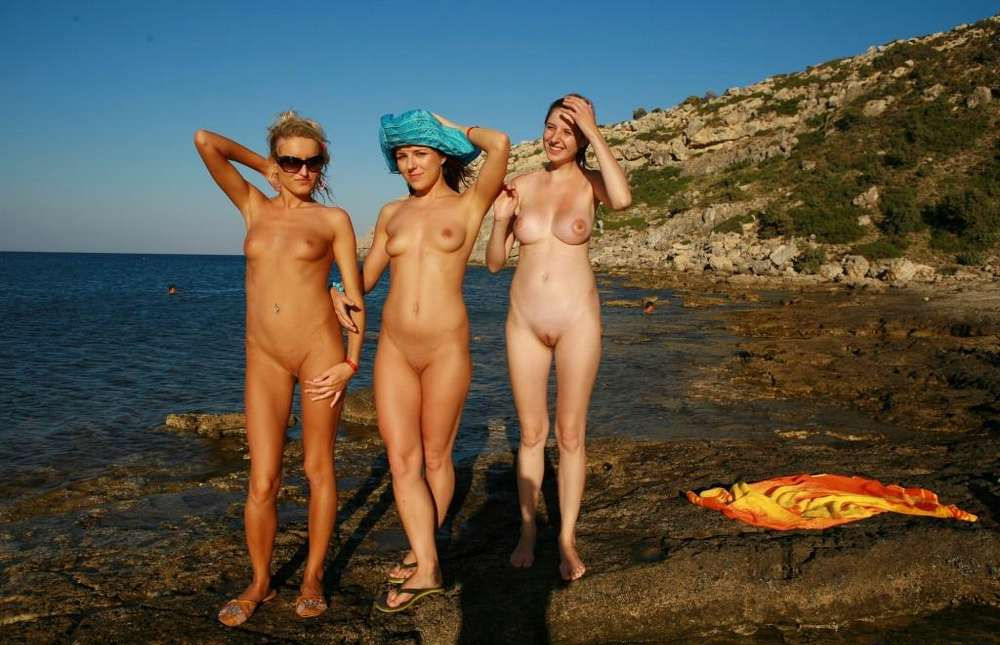 Bikini Flashing and Nude Sunbathing Party Girls on Vacation.