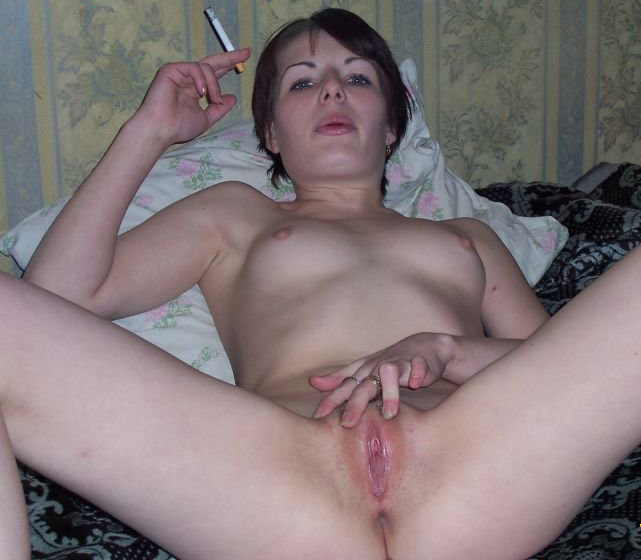 Brunette stretches her pussy with thick dildo 7