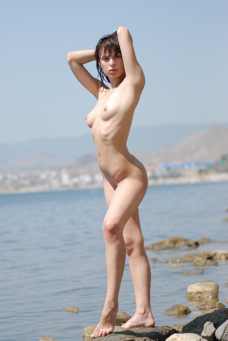 Sweet Russian Brunette With Sporty Body Posing Outdoors -8344