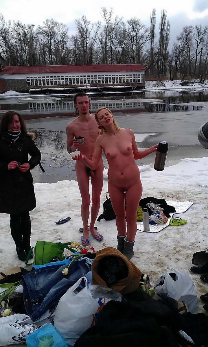 Crazy Russian Nudists Posing Naked At Winter  Russian -8905