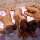 Group of amateur swingers have fun on the beach