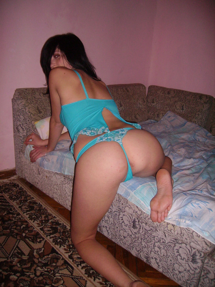 Perfect russian brunette undressing at home