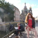 Perfect russian redhead shows boobs and pussy at public places